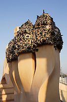 Chimneys crowned by fragments of glass bottles, Roof, La Pedrera (Casa Milà), Barcelona, Catalonia, Spain, built by Antoni Gaudí (Reus 1852 ? Barcelona 1926), 1906 - 1910, for  Milà Family, with Joan Beltran as a plaster and  with Josep Maria Jujol as architect collaborator. One of the main Gaudi residential buildings. Picture by Manuel Cohen