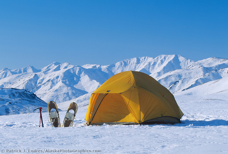 Winter tent camp in the snow, Brooks Range, Arctic, Alaska