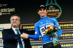 Race leader Michal Kwiatkowski (POL) Team Sky retains the Maglia Azzurra at the end of Stage 6 of the 53rd edition of the Tirreno-Adriatico 2018 running 153km from Numana to Fano, Italy. 12th March 2018.<br /> Picture: LaPresse/Fabio Ferrari | Cyclefile<br /> <br /> <br /> All photos usage must carry mandatory copyright credit (&copy; Cyclefile | LaPresse/Fabio Ferrari)