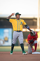 AZL Athletics shortstop Alexander Campos (8) during an Arizona League game against the AZL Angels at Tempe Diablo Stadium on June 26, 2018 in Tempe, Arizona. The AZL Athletics defeated the AZL Angels 7-1. (Zachary Lucy/Four Seam Images)