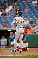 Lakeland Flying Tigers Colby Bortles (45) at bat during a Florida State League game against the Clearwater Threshers on May 14, 2019 at Spectrum Field in Clearwater, Florida.  Clearwater defeated Lakeland 6-3.  (Mike Janes/Four Seam Images)