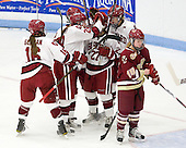 Marissa Gedman (Harvard - 16), Elizabeth Parker (Harvard - 29), Alisa Baumgartner (Harvard - 27), Hilary Crowe (Harvard - 8) - The Boston College Eagles defeated the Harvard University Crimson 4-2 in the 2012 Beanpot consolation game on Tuesday, February 7, 2012, at Walter Brown Arena in Boston, Massachusetts.