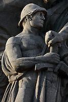 Detail of a soldier holding a sword (Le Vainqueur) from the Monument aux morts et a la Victoire, sculpture by Pierre-Marie Poisson, opened 1924, a memorial to the 6000 citizens of Le Havre who died in the First World War, whose names are inscribed on the base, Le Havre, Normandy, France. The monumental sculpture depicts Victory leading various allegorical figures, both civic and military. The centre of Le Havre is listed as a UNESCO World Heritage Site. Picture by Manuel Cohen