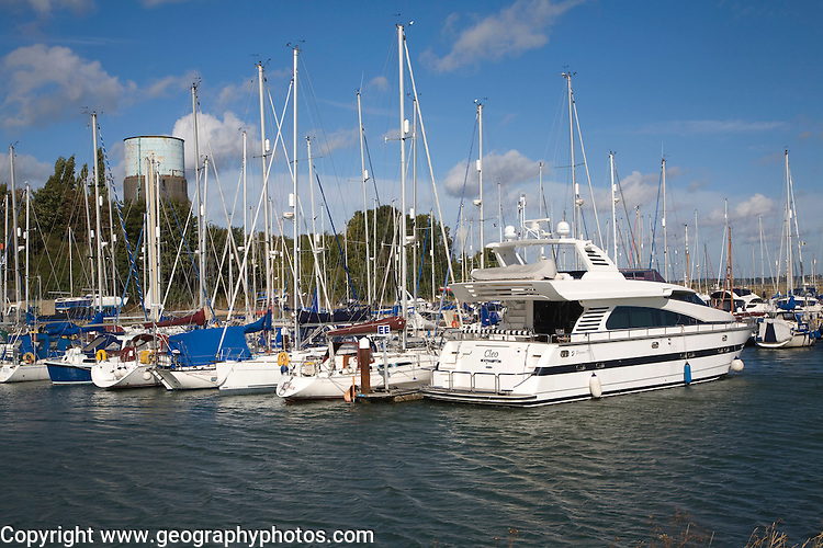 Leisure craft boats at moorings in Shotley marina, Suffolk, England