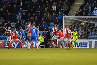 Tom Eaves of Gillingham (3rd left) scores his team's first goal of the game to make the score 1-1 during the Sky Bet League 1 match between Gillingham and Fleetwood Town at the MEMS Priestfield Stadium, Gillingham, England on 27 January 2018. Photo by David Horn.