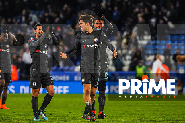 Chelsea's Pedro, Marcus Alonso and Olivier Giroud walk towards the Chelseas fans to thank them for their support during the FA Cup QF match between Leicester City and Chelsea at the King Power Stadium, Leicester, England on 18 March 2018. Photo by Stephen Buckley / PRiME Media Images.