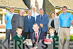 Killarney Mayor Paddy Courtney with the help on Killarney Monastry pupils Alex Milailows and Joseph Finbarr Kelliher launched the programme of events for the sixth Annual Hugh O'Flaherty Humaniarian Awards in killarney Monastry on Monday back row l-r: Gerry O'Sullivan, Canon Pat Horgan, Senator Paul Coughlan, Colm O Suilleabhain Principal, Jerry O'Grady, Pearl O'Flaherty-Dineen, and Jason O'Connor