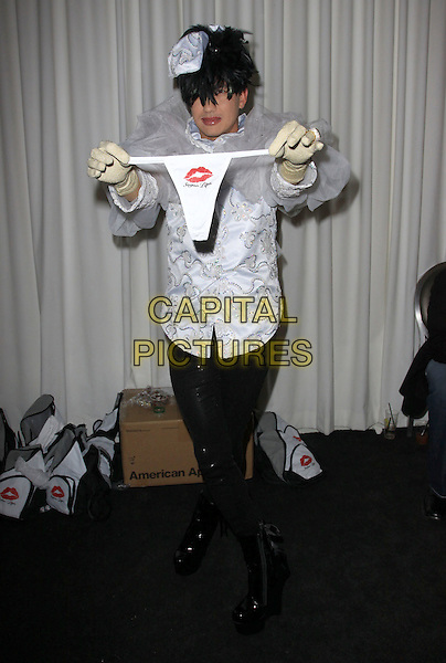 BOBBY TRENDY.SLS Golden Globes Pre-Gifting Suite held At The SLS Hotel, Beverly Hills, California, USA..January 14th, 2010.full length hat shoulder pads netting silver white jacket leggings black boots shiny knickers underwear thongs .CAP/ADM/KB.©Kevan Brooks/AdMedia/Capital Pictures.