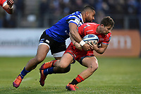 Rob Du Preez of Sale Sharks is tackled by Joe Cokanasiga of Bath Rugby. Gallagher Premiership match, between Bath Rugby and Sale Sharks on December 2, 2018 at the Recreation Ground in Bath, England. Photo by: Patrick Khachfe / Onside Images