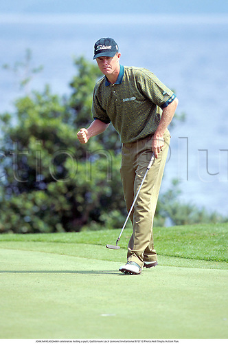 JOAKIM HEAGGMAN celebrates holing a putt, Gulfstream Loch Lomond Invitational 970710 Photo:Neil Tingle/Action Plus...1997.Golf.Putting.Celebrations .Joy.celebrate.celebration.celebrating.golfer golfers