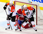 7 December 2009: Philadelphia Flyers' left wing forward Scott Hartnell (19) and center Jeff Carter (17) stand in front of Montreal Canadiens goaltender Carey Price in the third period at the Bell Centre in Montreal, Quebec, Canada. The Canadiens defeated the Flyers 3-1. Mandatory Credit: Ed Wolfstein Photo