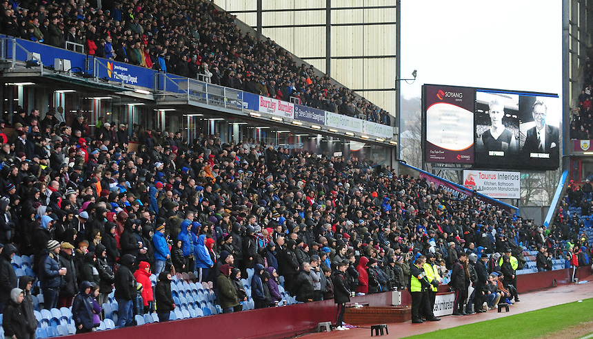Burnley fans observe a minutes silence in memory of Ray Pointer and Frank Teasdale<br /> <br /> Photographer Chris Vaughan/CameraSport<br /> <br /> Football - The Football League Sky Bet Championship - Burnley v Hull City - Saturday 6th February 2016 - Turf Moor - Burnley <br /> <br /> &copy; CameraSport - 43 Linden Ave. Countesthorpe. Leicester. England. LE8 5PG - Tel: +44 (0) 116 277 4147 - admin@camerasport.com - www.camerasport.com