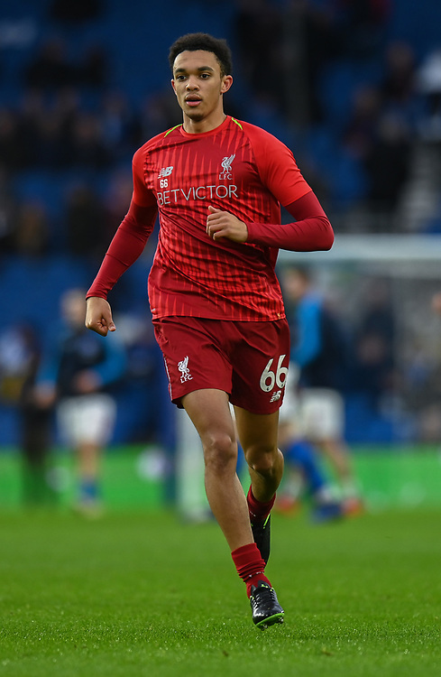 Liverpool's Trent Alexander-Arnold during the prematch warmup<br /> <br /> Photographer David Horton/CameraSport<br /> <br /> The Premier League - Brighton and Hove Albion v Liverpool - Saturday 12th January 2019 - The Amex Stadium - Brighton<br /> <br /> World Copyright © 2018 CameraSport. All rights reserved. 43 Linden Ave. Countesthorpe. Leicester. England. LE8 5PG - Tel: +44 (0) 116 277 4147 - admin@camerasport.com - www.camerasport.com
