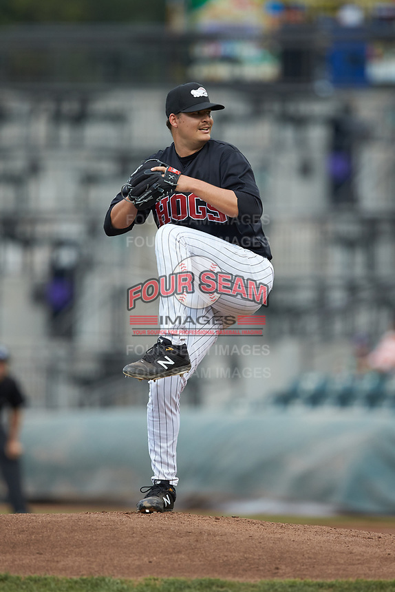 Winston-Salem Dash starting pitcher Blake Battenfield (24) in action against the Wilmington Blue Rocks at BB&T Ballpark on April 17, 2019 in Winston-Salem, North Carolina. The Blue Rocks defeated the Dash 2-1. (Brian Westerholt/Four Seam Images)