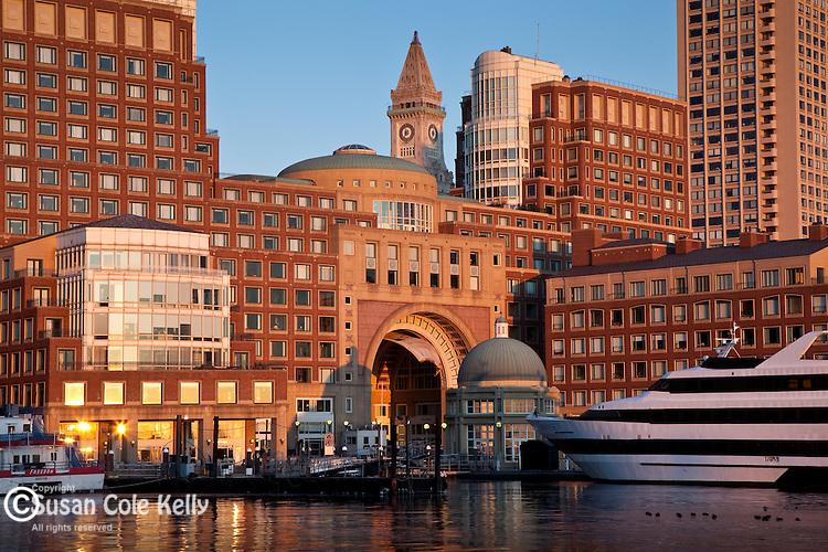 Rowes Wharf, on the waterfront of Boston Harbor, Boston, MA, USA