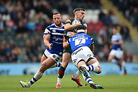 George Ford of Leicester Tigers is tackled by Francois Louw of Bath Rugby. Gallagher Premiership match, between Leicester Tigers and Bath Rugby on May 18, 2019 at Welford Road in Leicester, England. Photo by: Patrick Khachfe / Onside Images