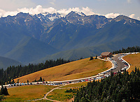 Hurricane Ridge Visitor Center before the distant Bailey Range