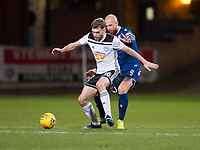 10th March 2020; Dens Park, Dundee, Scotland; Scottish Championship Football, Dundee FC versus Ayr United; Aaron Drinan of Ayr United holds off Jordon Forster of Dundee