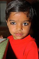 Portrait of a little girl of 5 years old in Dundlod, India
