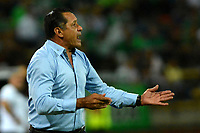 MEDELLÍN-COLOMBIA, 13-10-2019: Pompilio Páez, técnico (E) de Atlético Nacional, gesticula durante partido de la fecha 17 entre Atlético Nacional y Rionegro Águilas Doradas, por la Liga Águila II 20117, jugado en el estadio Atanasio Girardot de la ciudad de Medellín. / Pompilio Páez, coach (E) of Atletico Nacional gestures during a match of the 17th date between Atletico Nacional and Rionegro Aguilas Doradas, for the Aguila Leguaje II 20117 played at the Atanasio Girardot Stadium in Medellin city. / Photo: VizzorImage / León Monsalve / Cont.
