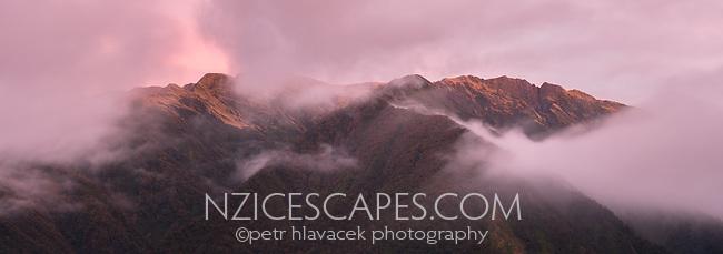 Dusk over Adams Range near Whataroa, South Westland, South Island, New Zealand, NZ