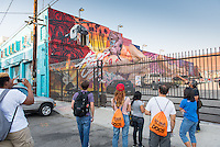 Incoming Occidental College students participate in Oxy Engage with the group Social Justice and tour graffiti art in the Arts District, near downtown Los Angeles, on Aug. 23, 2016. Oxy Engage is a pre-orientation program that introduces incoming students to the vibrant city of Los Angeles. Upperclassmen facilitators lead trips to experience culture, film, food, nature, social justice, the urban environment, and much more.<br /> (Photo by Marc Campos, Occidental College Photographer)