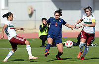 20190301 - LARNACA , CYPRUS : Mexican Stephany Mayor (left) pictured in a duel with Thai Nildhamrong Suchawadee (middle) and Mexican Nayeli Rangel (r) during a women's soccer game between Thailand and Mexico , on Friday 1 March 2019 at the GSZ Stadium in Larnaca , Cyprus . This is the second game in group B for both teams during the Cyprus Womens Cup 2019 , a prestigious women soccer tournament as a preparation on the FIFA Women's World Cup 2019 in France . PHOTO SPORTPIX.BE | DAVID CATRY