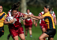 Billy-Jean Ale of Papakura charges toward the try line in the tackle of Sarina Fiso Clark. Premier Women's Rugby League, Papakura Sisters v Manurewa Wahine, Prince Edward Park, Auckland, Sunday 13th August 2017. Photo: Simon Watts / www.phototek.nz