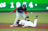 Salem Red Sox shortstop Mauricio Dubon (10) can't handle a throw as Hunter Jones (29) of the Winston-Salem Dash slides head first into second base at BB&T Ballpark on April 15, 2016 in Winston-Salem, North Carolina.  The Red Sox defeated the Dash 3-2.  (Brian Westerholt/Four Seam Images)