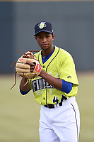 Pitcher Willy Taveras (40) of the Columbia Fireflies warms up before a game against the Charleston RiverDogs on Thursday, April 4, 2019, at Segra Park in Columbia, South Carolina. Charleston won, 2-1. (Tom Priddy/Four Seam Images)