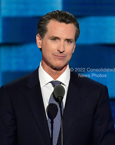 Lieutenant Governor Gavin Newsom (Democrat of California) makes remarks during the third session of the 2016 Democratic National Convention at the Wells Fargo Center in Philadelphia, Pennsylvania on Wednesday, July 27, 2016.<br /> Credit: Ron Sachs / CNP<br /> (RESTRICTION: NO New York or New Jersey Newspapers or newspapers within a 75 mile radius of New York City)