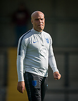England coach during the Under 18 International friendly match between England U18 & Brazil U18 at Hednesford Town Football Club, Keys Park, Cannock on 8 September 2019. Photo by Andy Rowland.
