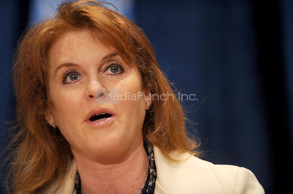 Sarah Ferguson, The Duchess of York, at the conference for 'Engaging Philanthropy to Promote Gender Equality and Women's Empowerment' at United Nations Headquarters in New York City. February 22, 2010. Credit: Dennis Van Tine/MediaPunch