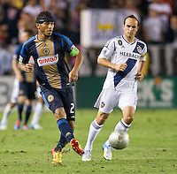 CARSON, CA - July 4, 2012: Philadelphia Union defender Carlos Valdes (2) and LA Galaxy forward Landon Donovan (10) during the LA Galaxy vs Philadelphia Union match at the Home Depot Center in Carson, California. Final score LA Galaxy 1, Philadelphia Union 2.