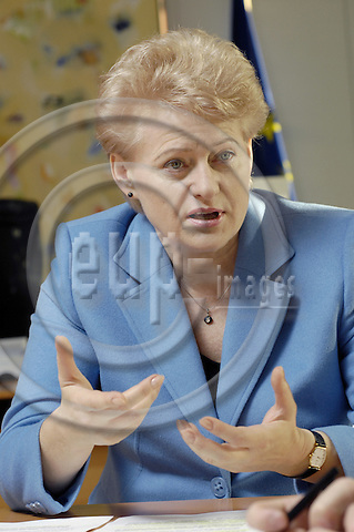 Brussels-Belgium - 11 November 2008 -- Dalia GRYBAUSKAITÉ (Grybauskaite), European Commissioner from Lithuania, in charge of Financial Programming and Budget, during an interview in her office -- Photo: Horst Wagner / eup-images
