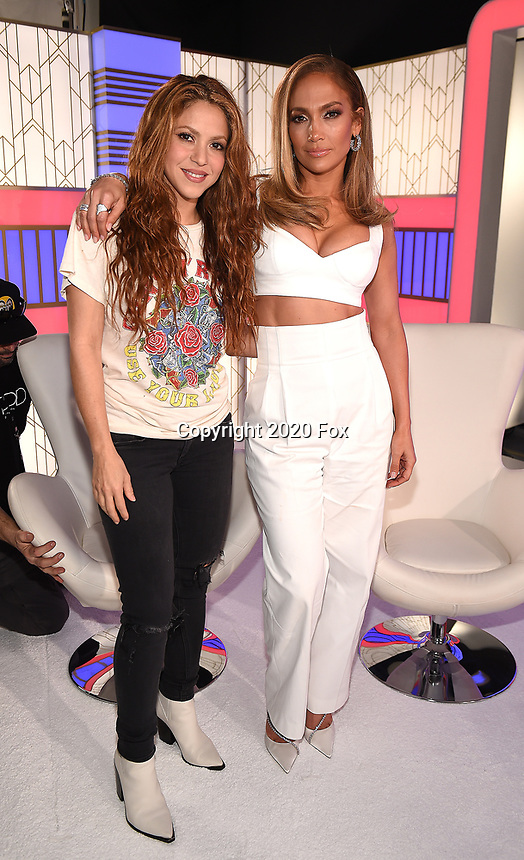 MIAMI, FL - JANUARY 30: Shakira and Jennifer Lopez following the press conference for the Pepsi Super Bowl LIV halftime show during Super Bowl LIV week on January 30, 2020 in Miami, Florida. (Photo by Frank Micelotta/Fox Sports/PictureGroup)