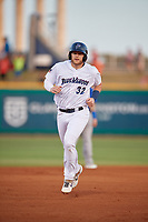 Pensacola Blue Wahoos Travis Blankenhorn (32) runs the bases on a Tanner English (not shown) home run during a Southern League game against the Biloxi Shuckers on May 3, 2019 at Admiral Fetterman Field in Pensacola, Florida.  Pensacola defeated Biloxi 10-8.  (Mike Janes/Four Seam Images)