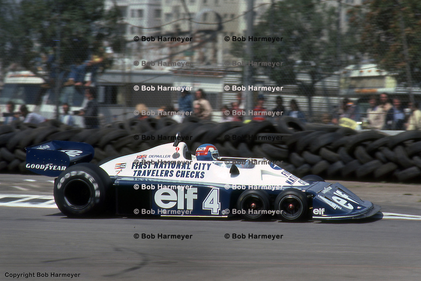 LONG BEACH, CA: Patrick Depailler drives the Tyrrell P34 2/Ford Cosworth DFV during practice for the United States Grand Prix West on April 3, 1977, on the temporary street circuit in Long Beach, California.