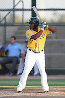 B.J. Boyd #5 of the AZL Athletics bats against the AZL Dodgers at Papago Park Baseball Complex on July 25, 2012 in Phoenix, Arizona. Dodgers defeated A's 3-1. (Larry Goren/Four Seam Images)