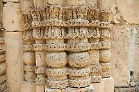 Pictures & images of Nikortsminda ( Nicortsminda ) St Nicholas Georgian Orthodox Cathedral exterior and its Georgian relief sculpture stonework pillar decorations, 11th century, Nikortsminda, Racha region of Georgia (country). A UNESCO World Heritage Tentative Site.