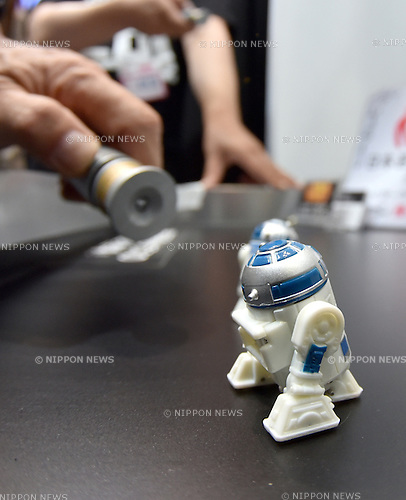 June 18, 2015, Tokyo, Japan - A battery-operated Star Wars nanodoroid R2-D2 is demonstrated  at the Tokyo Toy Show, the largest of its kind, which opened for four days on Thursday, June 18, 2015. The annual size of the Japanese toy market reached 736.7 billion yen in fiscal 2014 (through to March 2015), the best sales in a decade.  (Photo by Natsuki Sakai/AFLO)