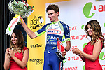 Yoann Offredo (FRA) Wanty-Groupe Gobert wins the combativity award for Stage 1 of the 2018 Tour de France running 201km from Noirmoutier-en-l&rsquo;&Icirc;le to Fontenay-le-Comte, France. 7th July 2018. <br /> Picture: ASO/Alex Broadway | Cyclefile<br /> All photos usage must carry mandatory copyright credit (&copy; Cyclefile | ASO/Alex Broadway)