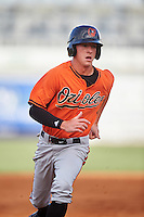 Drew Waters (1) of Etowah High School in Woodstock, Georgia playing for the Baltimore Orioles scout team during the East Coast Pro Showcase on August 3, 2016 at George M. Steinbrenner Field in Tampa, Florida.  (Mike Janes/Four Seam Images)