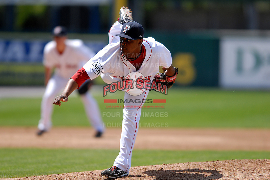 Pitcher Jason Rice #45 of the Pawtucket Red Sox during a game versus the Lehigh Valley Iron Pigs on June 19, 2011 at McCoy Stadium in Pawtucket, Rhode Island.(Ken Babbitt/Four Seam Images)