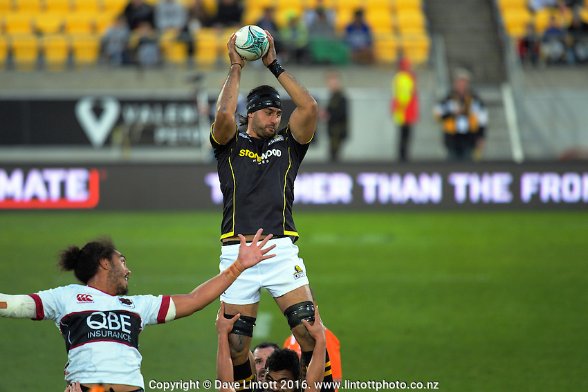 Hoani Matenga takes lineout ball during the Mitre 10 Cup rugby union match between Wellington Lions and North Harbour at Westpac Stadium, Wellington, New Zealand on Saturday, 3 September 2016. Photo: Dave Lintott / lintottphoto.co.nz