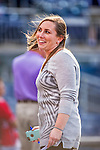 22 May 2015: Washington Nationals Senior Director of Baseball Communications Amanda Comak smiles during batting practice prior to a game against the Philadelphia Phillies at Nationals Park in Washington, DC. The Nationals defeated the Phillies 2-1 in the first game of their 3-game weekend series. Mandatory Credit: Ed Wolfstein Photo *** RAW (NEF) Image File Available ***