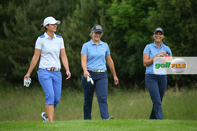 Maria Dunne socialising with Bailey Tardy and Monica Vaughn (USA) during Friday Foursomes at the 2016 Curtis Cup, played at Dun Laoghaire GC, Enniskerry, Co Wicklow, Ireland. 10/06/2016. Picture: David Lloyd | Golffile. <br /> <br /> All photo usage must display a mandatory copyright credit to &copy; Golffile | David Lloyd.