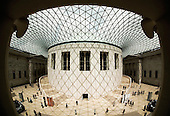 Fisheye View of the Great Court Reading Room and Roof Structure, which was designed by Architect Sir Norman Foster, at the British Museum in London. (Photo: Bettina Strenske)