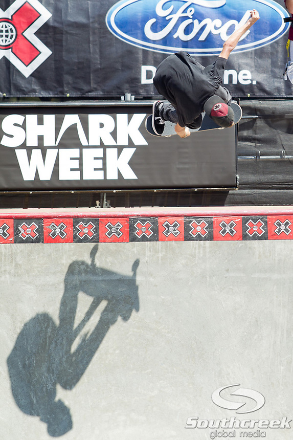 Aaron Homoki competes in the Skateboard Park Elimination at Event Deck at L.A. Live in Los Angeles, California. Homoki placed 9th in the event and will advance to the finals.