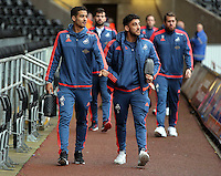 (L-R) Kyle Naughton and Neil Taylor of Swansea arrive before the Barclays Premier League match between Swansea City and Crystal Palace at the Liberty Stadium, Swansea on February 06 2016